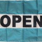 Open - 2'X3' Nylon Flag (teal/white/teal)