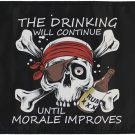 "The Drinking Will Continue Until Morale Improves - 12"" x 18"" Nylon Flag"
