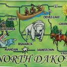 North Dakota Acrylic State Map Magnet
