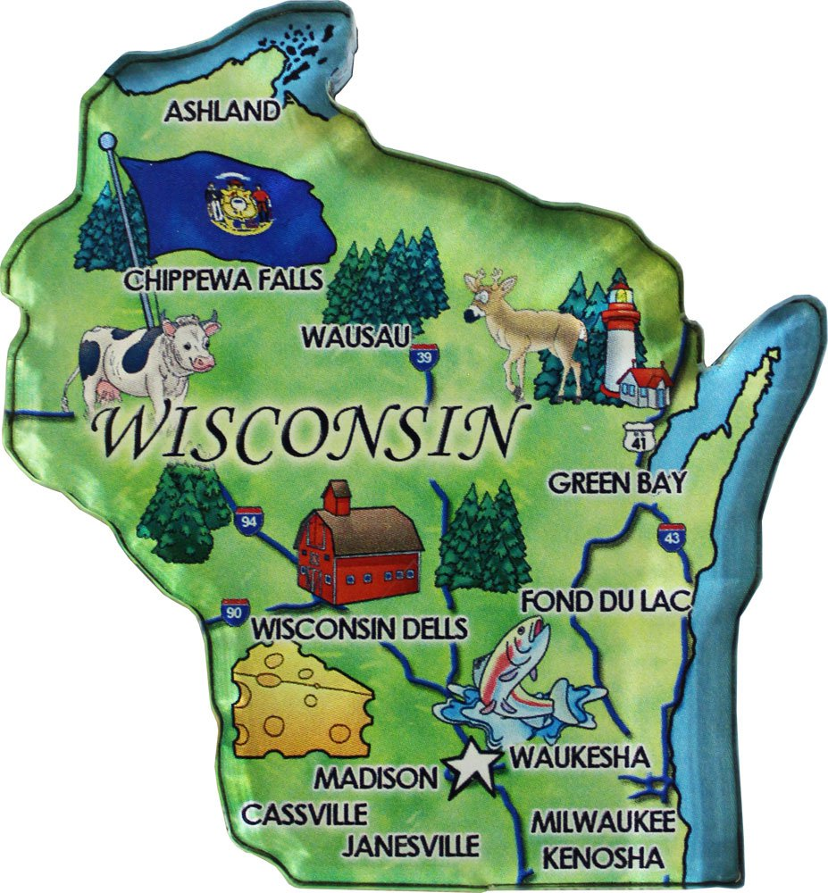 Wisconsin Acrylic State Map Magnet