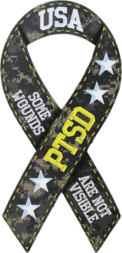 """Support Our Troops PTSD (Some Wounds are Not Visible) - 4"""" x 8"""" Ribbon Magnet"""