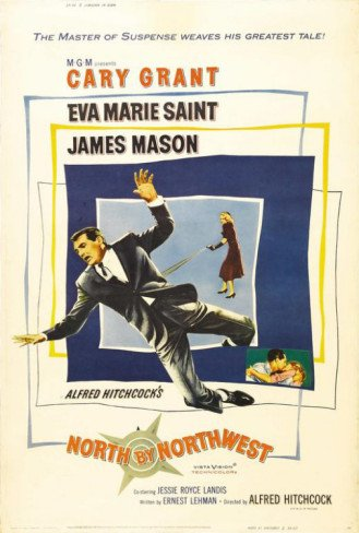 North By Northwest Movie Poster 24X36 in Alfred Hitchcock Cary Grant Roger O Thornhill