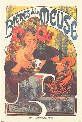Bieres de la Meuse Poster 24x36 Mucha Art Nouveau Beer Ad 1897