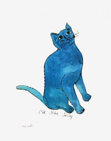 One Blue Pussy by Andy Warhol Poster Print 1954 Sam Cat