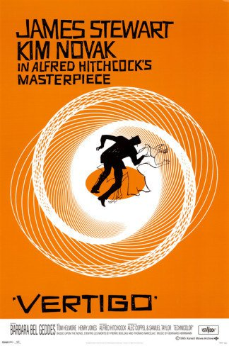 Vertigo Poster 24x36 Alfred Hitchcock Jimmy Stewart Bass Kim Novak Saul Bass James Movie