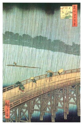 Great Bridge, Sudden Shower at Atake Poster 24x36 Utagawa Ando Hiroshige Vincent Van Gogh