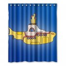 Yellow Submarine Pattern Shower Curtain Polyester Fabric Bathroom Shower Curtain