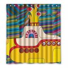 Yellow Submarine Shower Curtain Polyester Fabric Bathroom Shower Curtain Size 66x72 inch