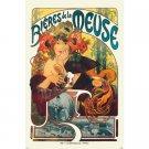 Bieres de la Meuse Poster 24x36 in Mucha Art Nouveau Beer Ad 1897 61x90 cm