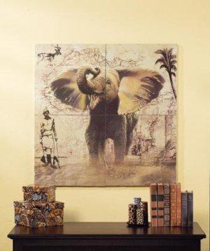 4 Pc. Patchwork Elephant Mural