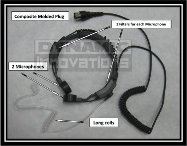 Throat Mic and Ear Piece for Harley Davidson CB and Communication Radio