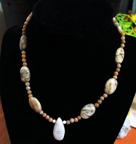 Green Earth Jasper, Gray Feldspar Beaded Necklace