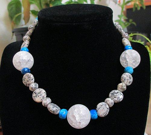 Moss Quartz, Blue Crazy Agate, Crackle Quarts Beaded Necklace