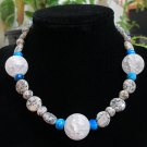 Moss Quartz, Blue Crazy Agate, Crackle Quarts Beaded Necklace