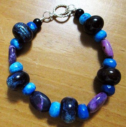 Purple Crazy Agate, Blue Crazy Agate & Pottery Bracelet