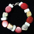 African Turquoise, Stone & Wood Bracelet