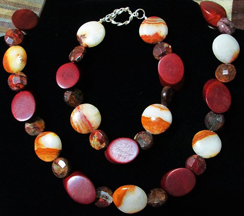 Brown Italian Onyx, Green Agate & Wood Bracelet & Necklace Set