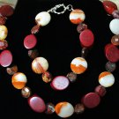 Brown Italian Onyx, Green Agate & Wood Bracelet & Necklace Set