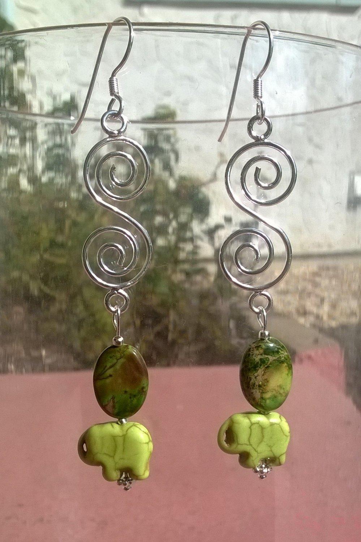 Crystal Elephant spiral  earrings