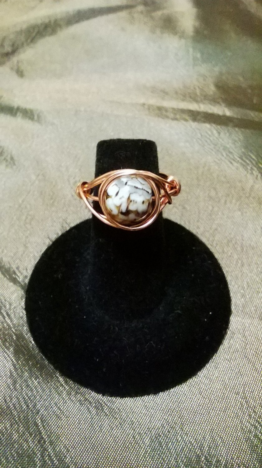 Fire Crackle Agate Ring