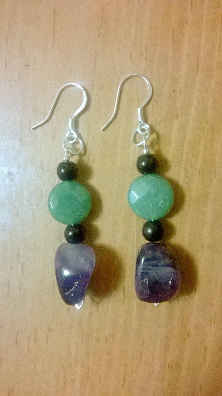 Amethyst & Indian Agate Crystal Earrings