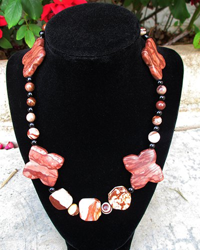 Zebra Jasper Crystal Necklace