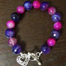 Pink and Purple Agate (dyed) heart Bracelet