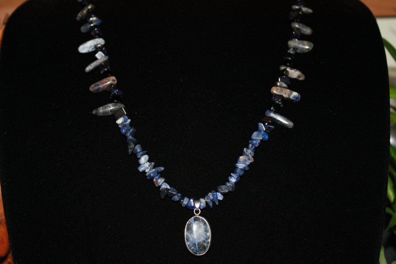 Men's Sodalite & Black Stone Necklace & Pendant