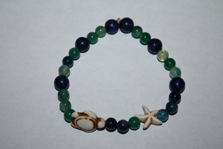 Stretch Banded Agate  and Blue Jasper turtle Bracelet