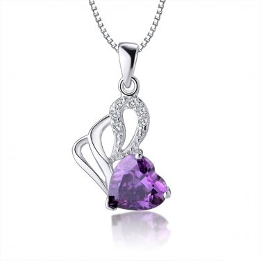 WHITE GOLD PLATED PURPLE HEART CUBIC ZIRCON CRYSTAL SET