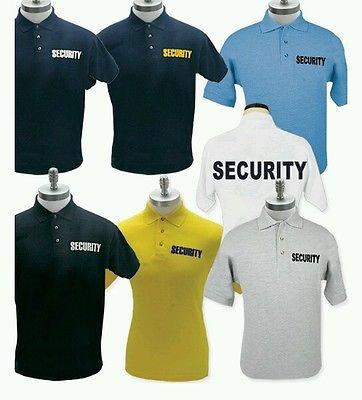 LARGE LG size Black Security Guard Officer Polo Shirt Uniform Work Top Shirt