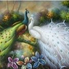No Frame!! 100% Handicraft art animal Birds Art oil painting the white and green Peacocks