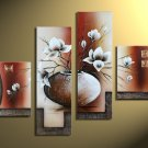No Frame!! Chinese Classical Potted White Flower Home Decor Oil Painting On Canvas Hot Sale
