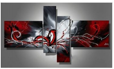 Framed!! oil paintings on canvas red black white home decoration Modern abstract wall art