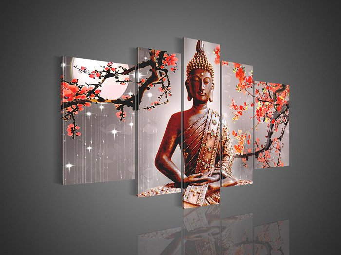 Framed!! Large Size Wall Decor Buddha Oil Painting on Canvas