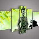 Framed 5 Panel Wall Art Religion Buddha Oil Painting Home Modern Decoration