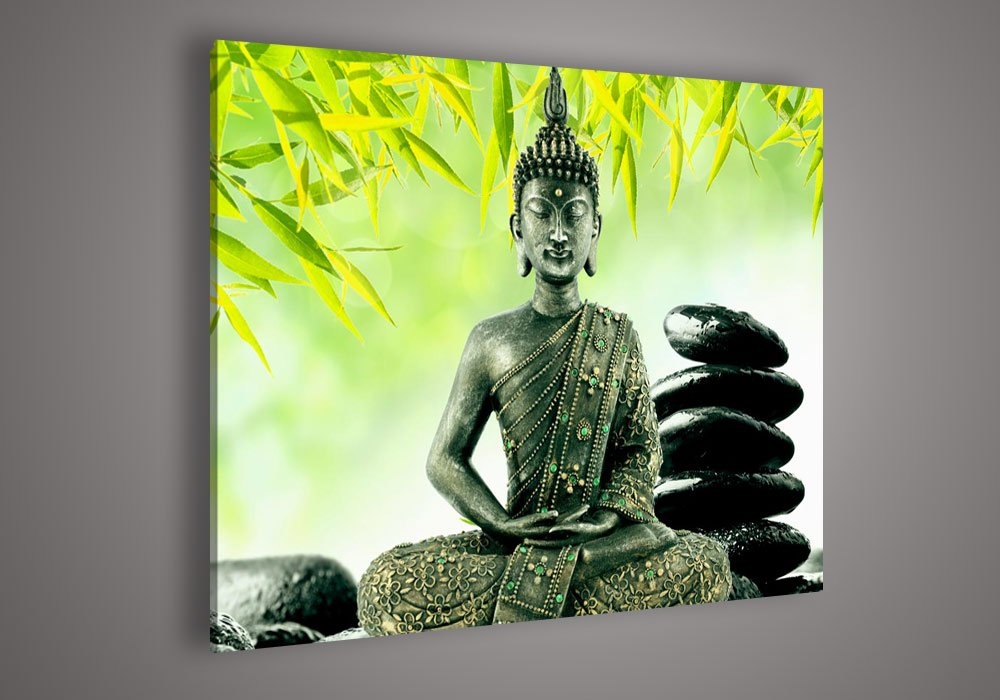 Framed Wholesale Wall Decoration Buddha Face Oil Painting on Canvas