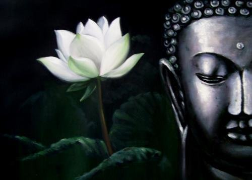andmade Beautiful Buddha With Flower Oil Painting on Canvas Framed