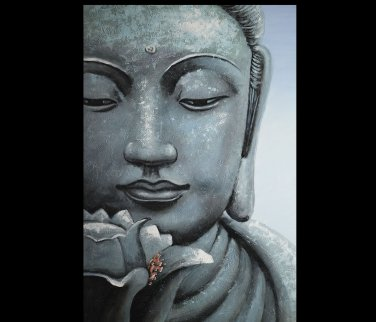 Stretched all art home decor flower oil painting on canvas Religious Sakyamuni Buddha statue Bamboo