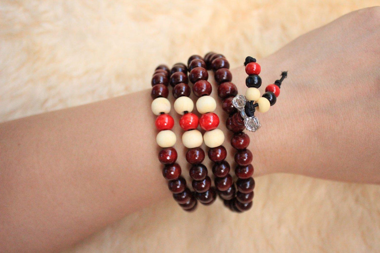Vintage multi-layer Buddha beads bracelets elastic rope bracelet