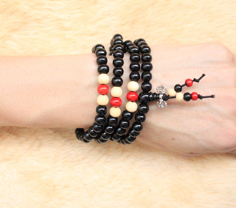 Buddha Wooden Wrist Mala 8mm 108 Buddhist Buddha Multi Chain Black Bead Bracelet Necklace