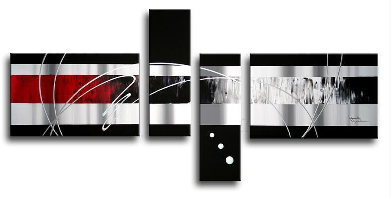 Framed!! Handmade Abstract Oil Painting On Canvas Black White And Red Home Decoration Wall Art