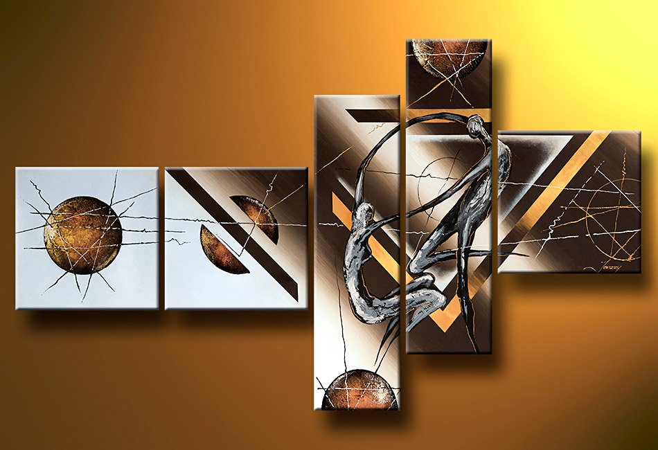 Framed!! 5 Pieces Hand Painted Wall Art Canvas Picture Modern Abstract Home Decor Living Room Set