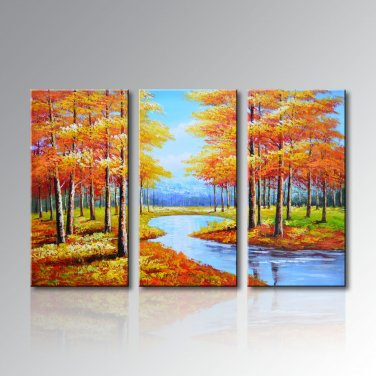Stretched Handpainted Frame Landscape Oil Painting on Canvas Painting Pictures