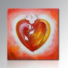 Framed Handpainted Red Love Lovers With Flower Oil Painting on Canvas Painting Pictures