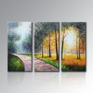 Framed Abstract Oil Painting on Canvas Landscape Painting Country Load Street Road Living Room
