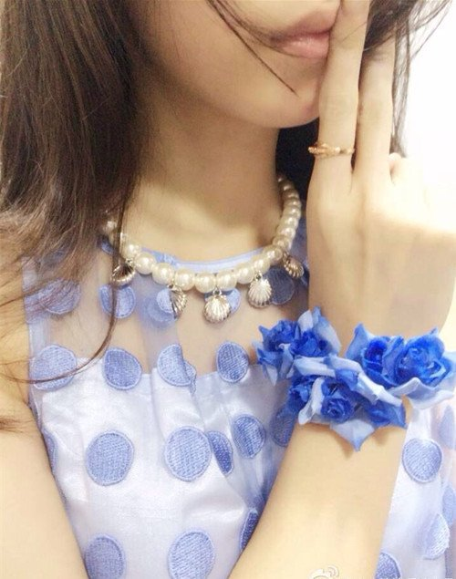 Hot Selling Fashion Plastic Chain Gold Pendant White Pearl Beads Necklace