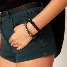 Women Fashion Jewelry Black Metal King Bracelet Bangle Free Shipping Pair