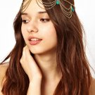 Women Fashion Color Rhinestone Green Chain Jewelry Headband Synthetic emerald