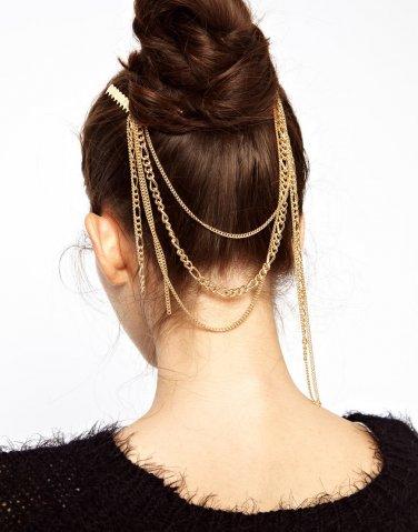 Women Fashion Gold Rhinestone Pink Chain Jewelry Headband Head Hair band